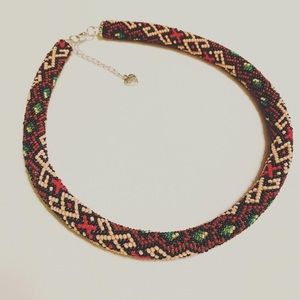 Handmade seed beads crocheted rope necklace